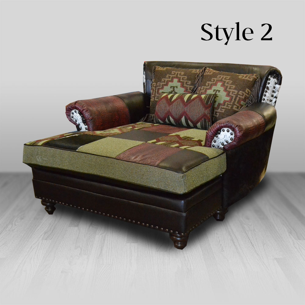 Calico Chaise Cowhide Western Furniture