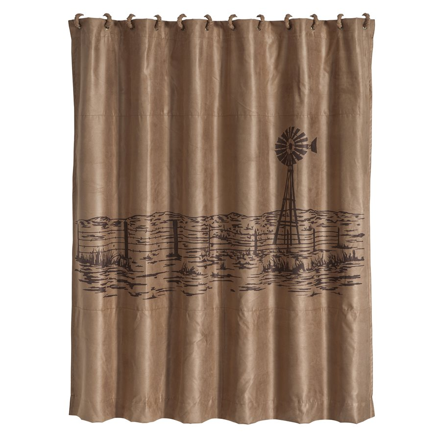 Embroided Windmill Shower Curtain 8000