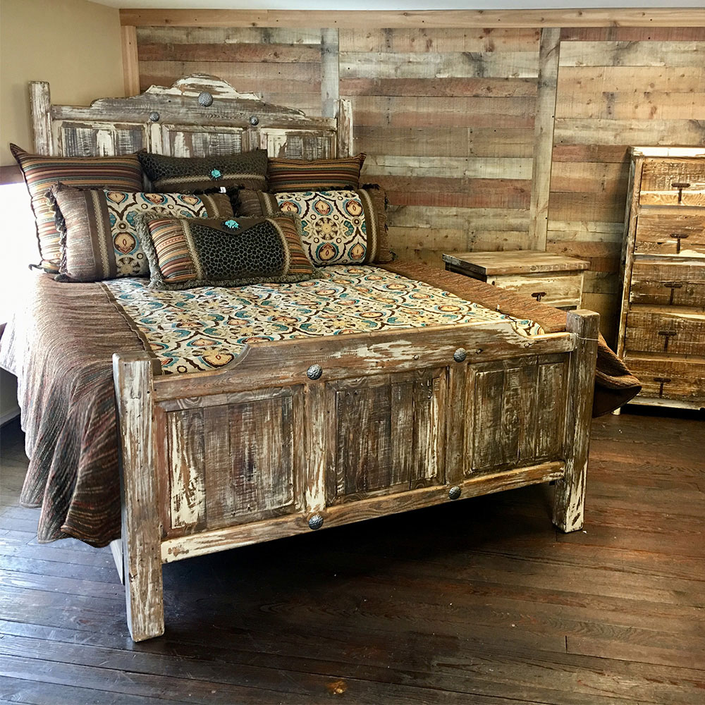 Curved Top Queen Antique Bedroom Group Cowhide Western Furniture